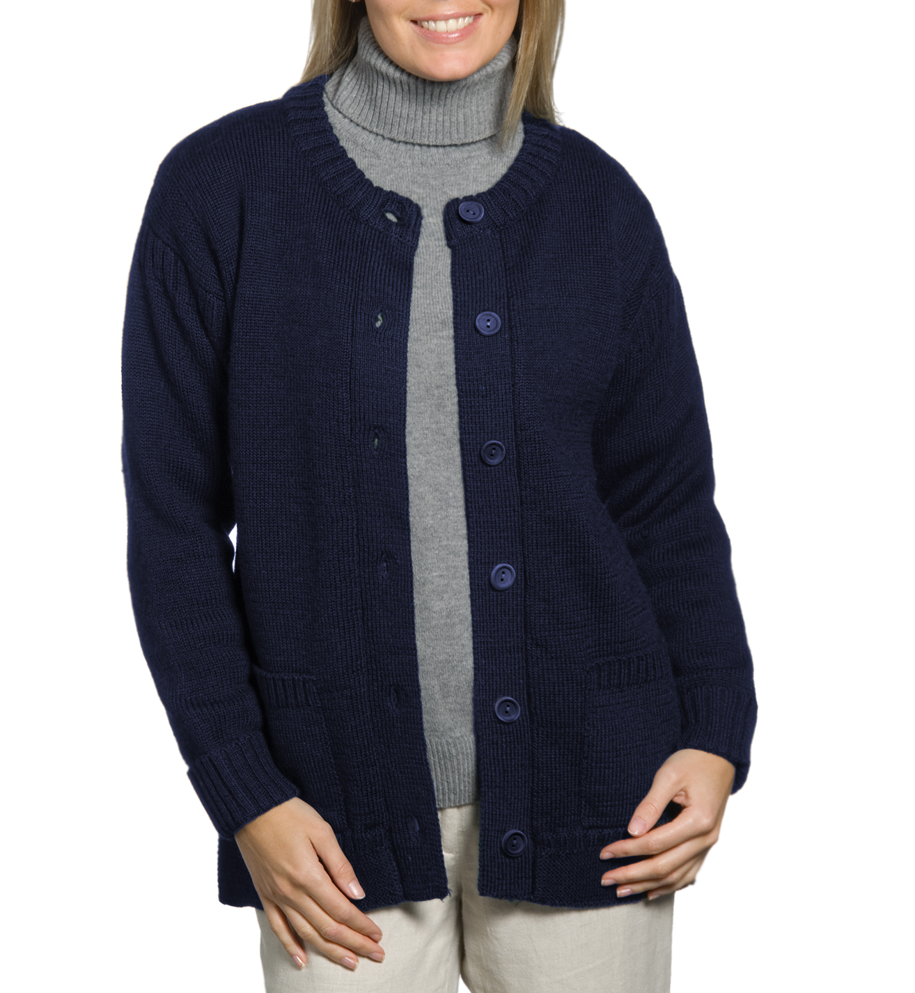 woolovers damen guernsey strickjacke rundhals langarm cardigan wolle pullover ebay. Black Bedroom Furniture Sets. Home Design Ideas