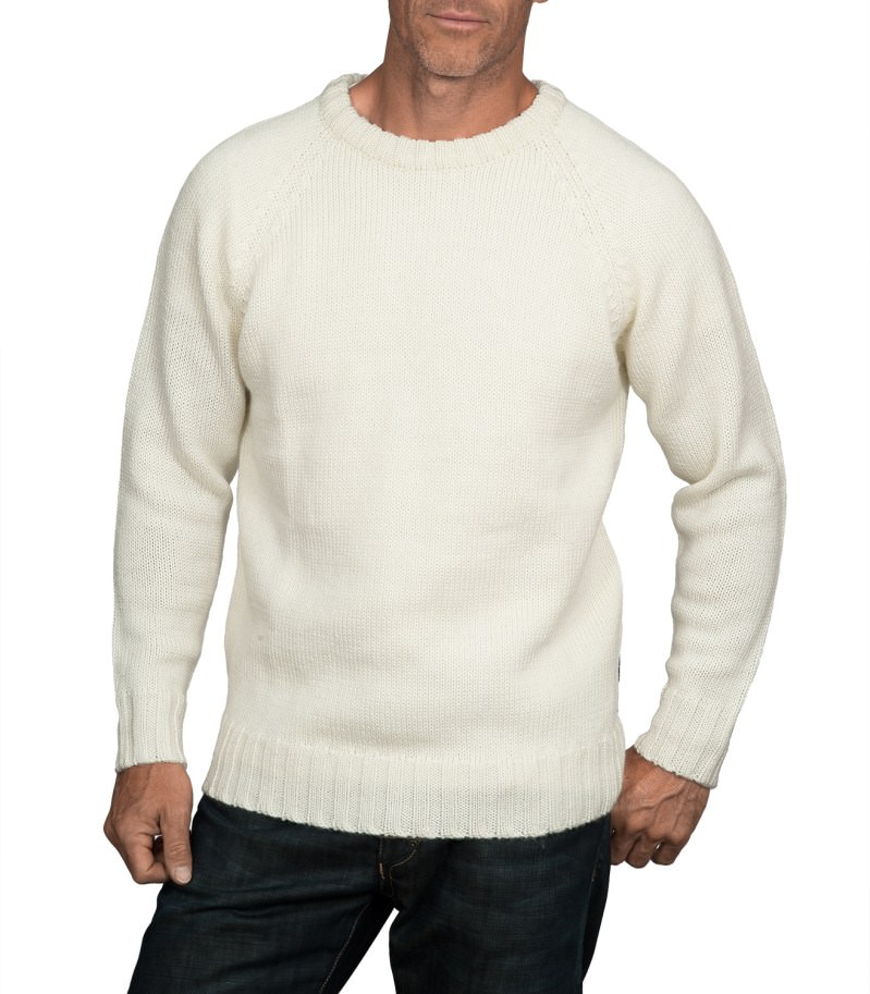 WoolOvers Mens Pure Wool Fishermans Crew Neck Jumper ...