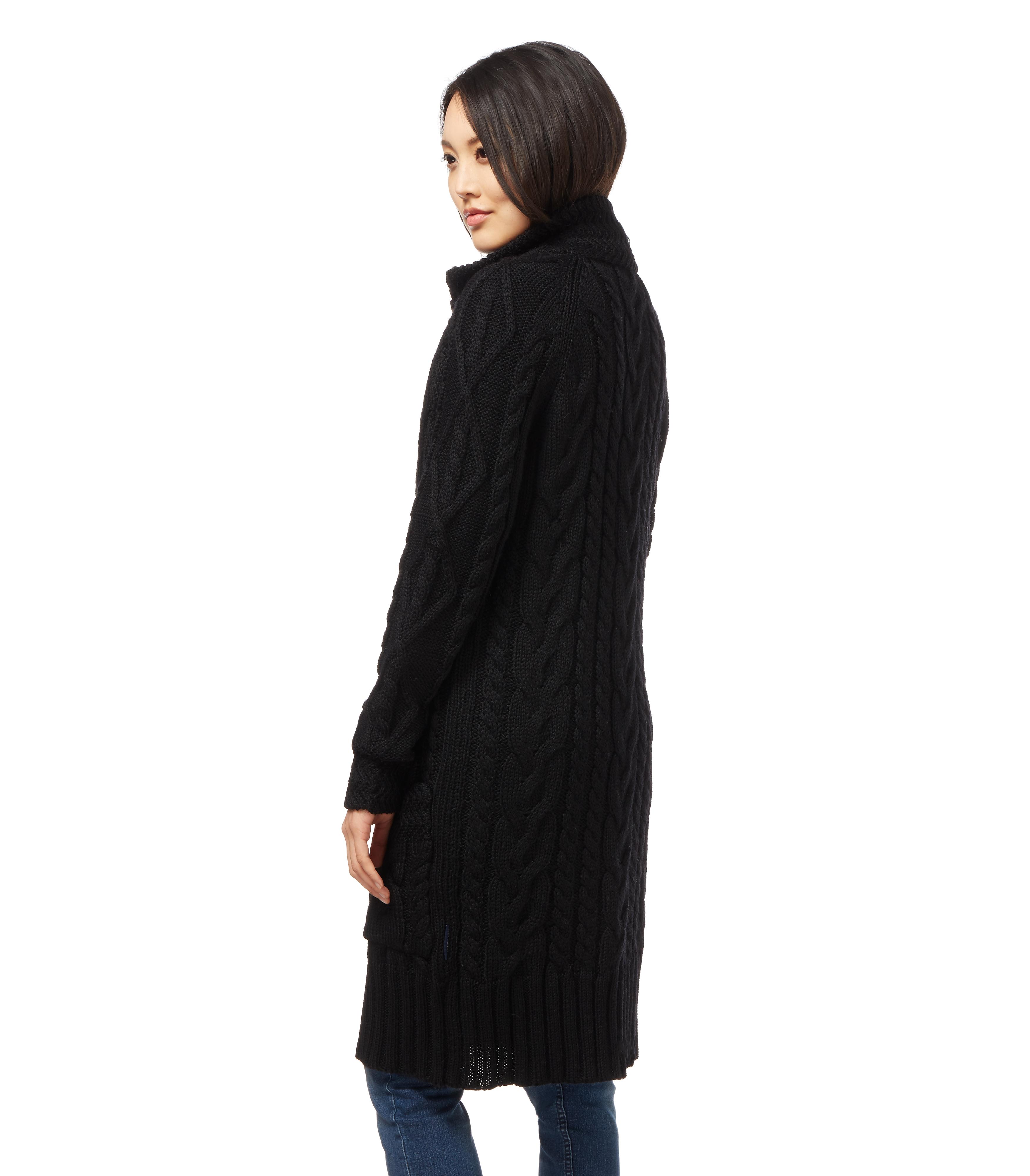 woolovers damen lange strickjacke aran zopfmuster cardigan. Black Bedroom Furniture Sets. Home Design Ideas