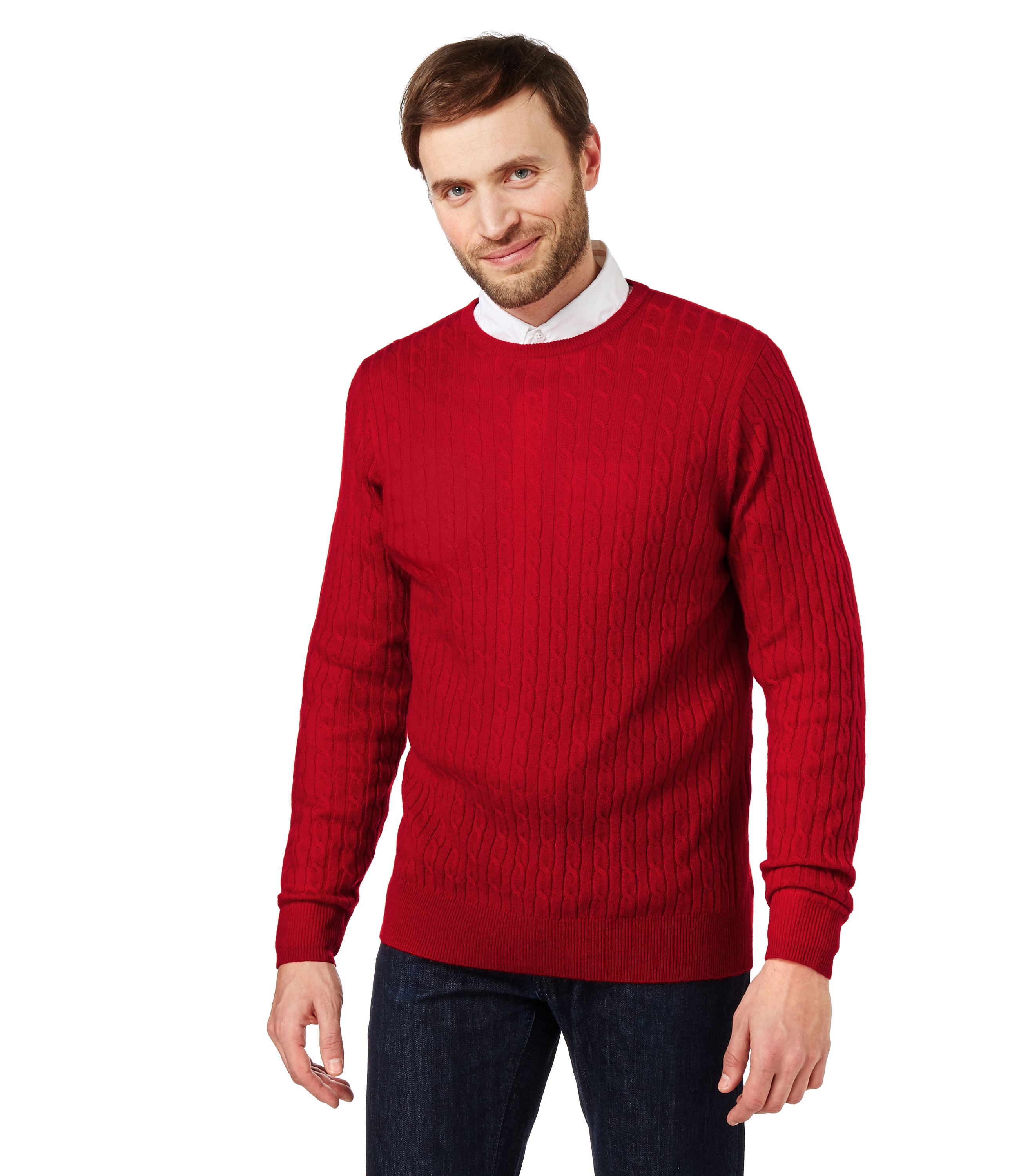 WoolOvers Mens Cashmere And Merino Cable Crew Neck Long Sleeves ...
