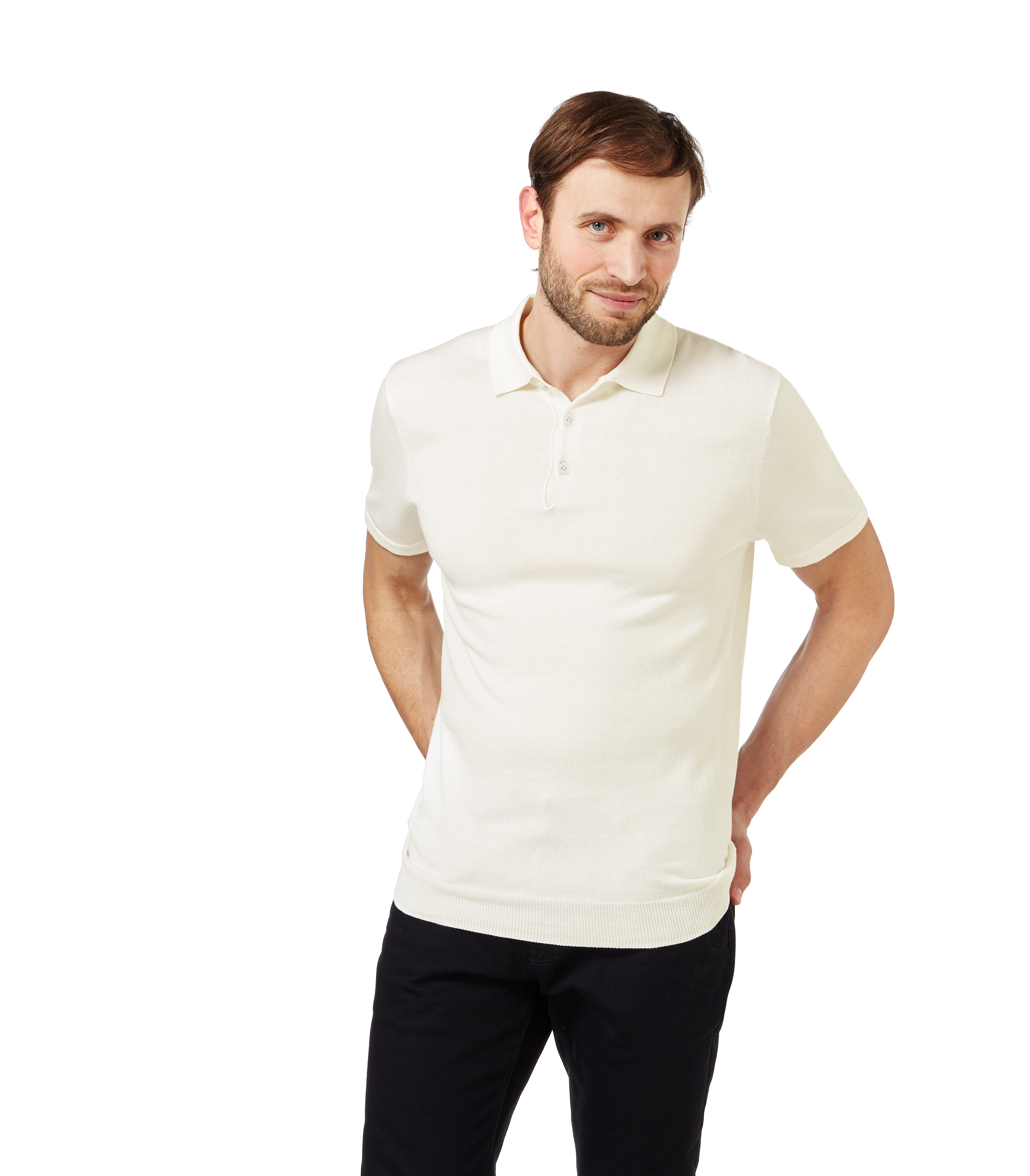 Woolovers Mens Silk Cotton Short Sleeves Knitted Collar