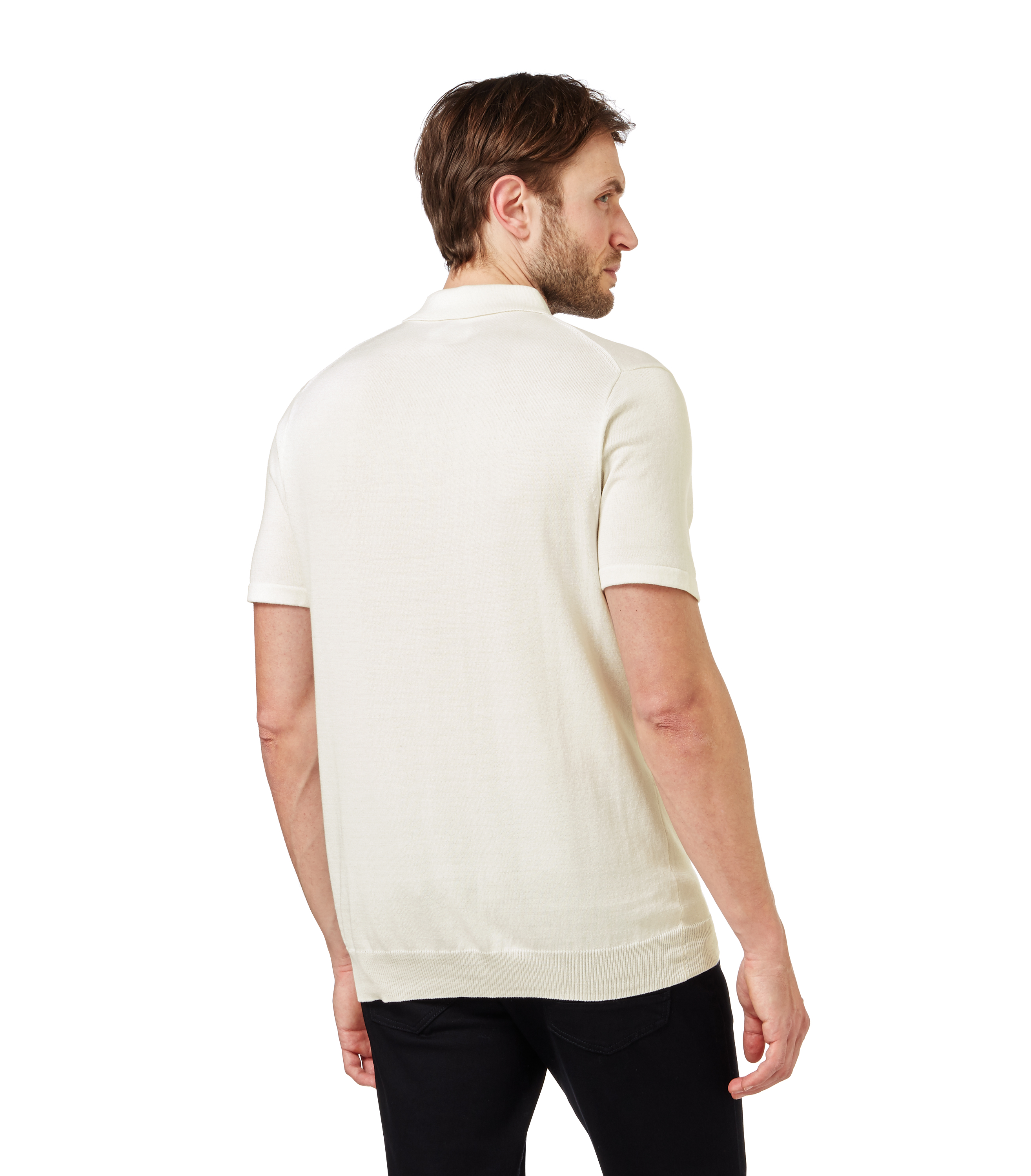 Woolovers mens silk and cotton short sleeve knitted polo for Cotton silk tee shirts