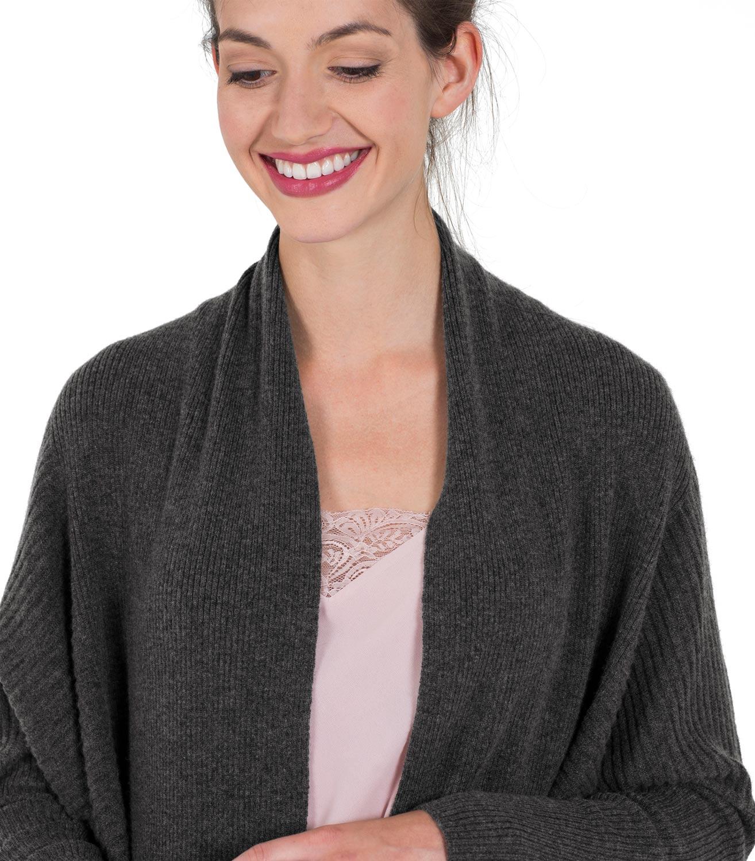 woolovers damen strickjacke offen gerippt langarm cardigan kaschmir merino mix ebay. Black Bedroom Furniture Sets. Home Design Ideas
