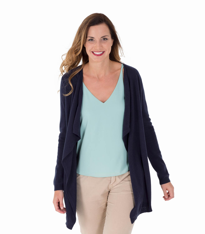 WoolOvers Womens Cashmere Merino Long Sleeve Waterfall Cardigan ...