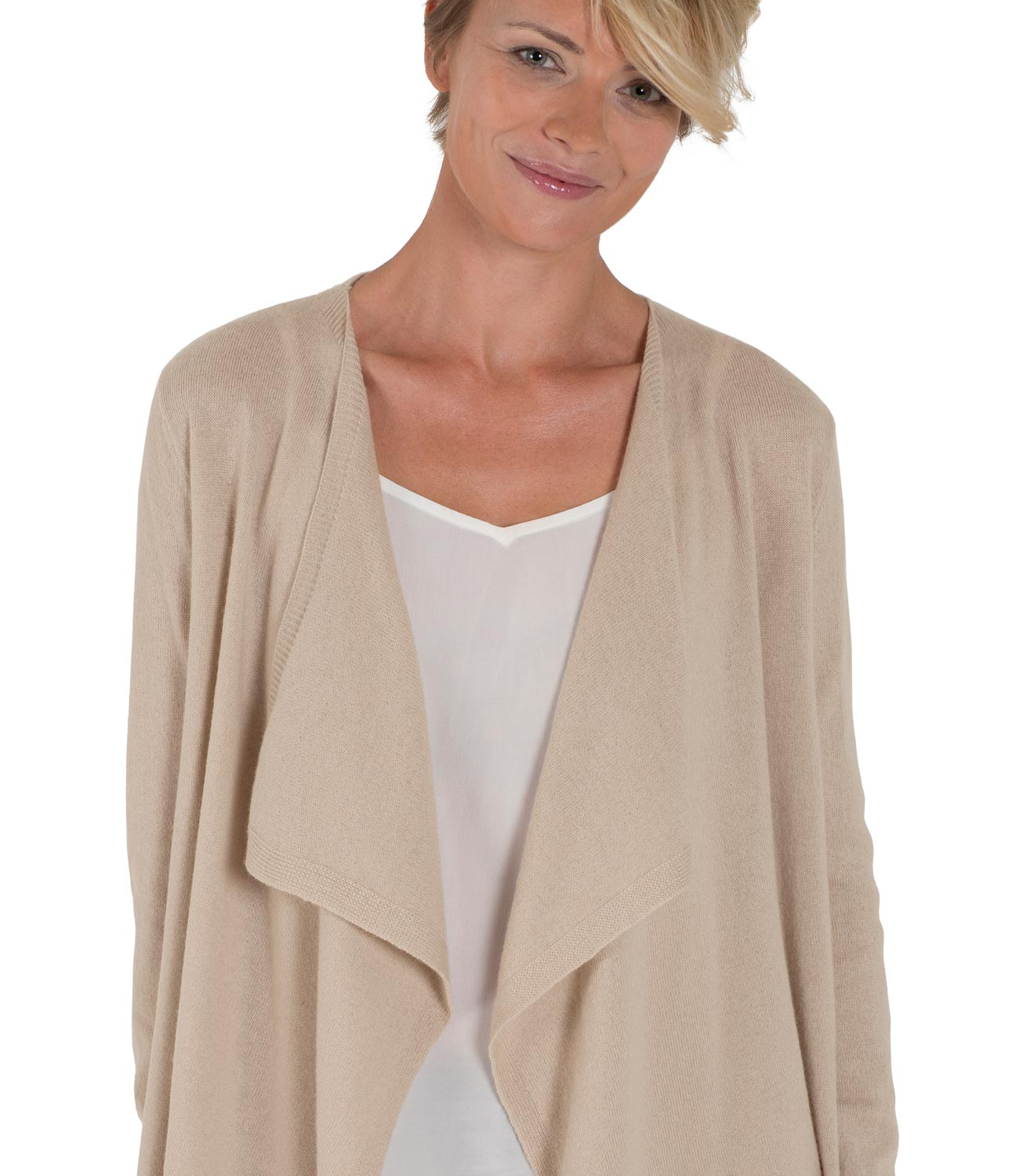 WoolOvers Womens Cashmere Merino Long Sleeve Waterfall Cardigan ...