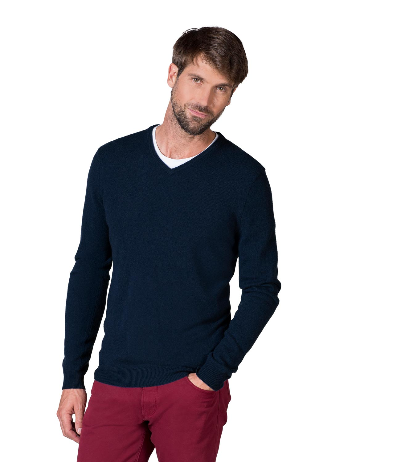This ultrasoft sweater is knit from Italian cashmere and makes a luxurious addition to any man's wardrobe. Wear it with a shirt and tie over dark moto jeans for a modern casual look, or keep things polished by teaming it with flannel trousers and your favorite sport coat.