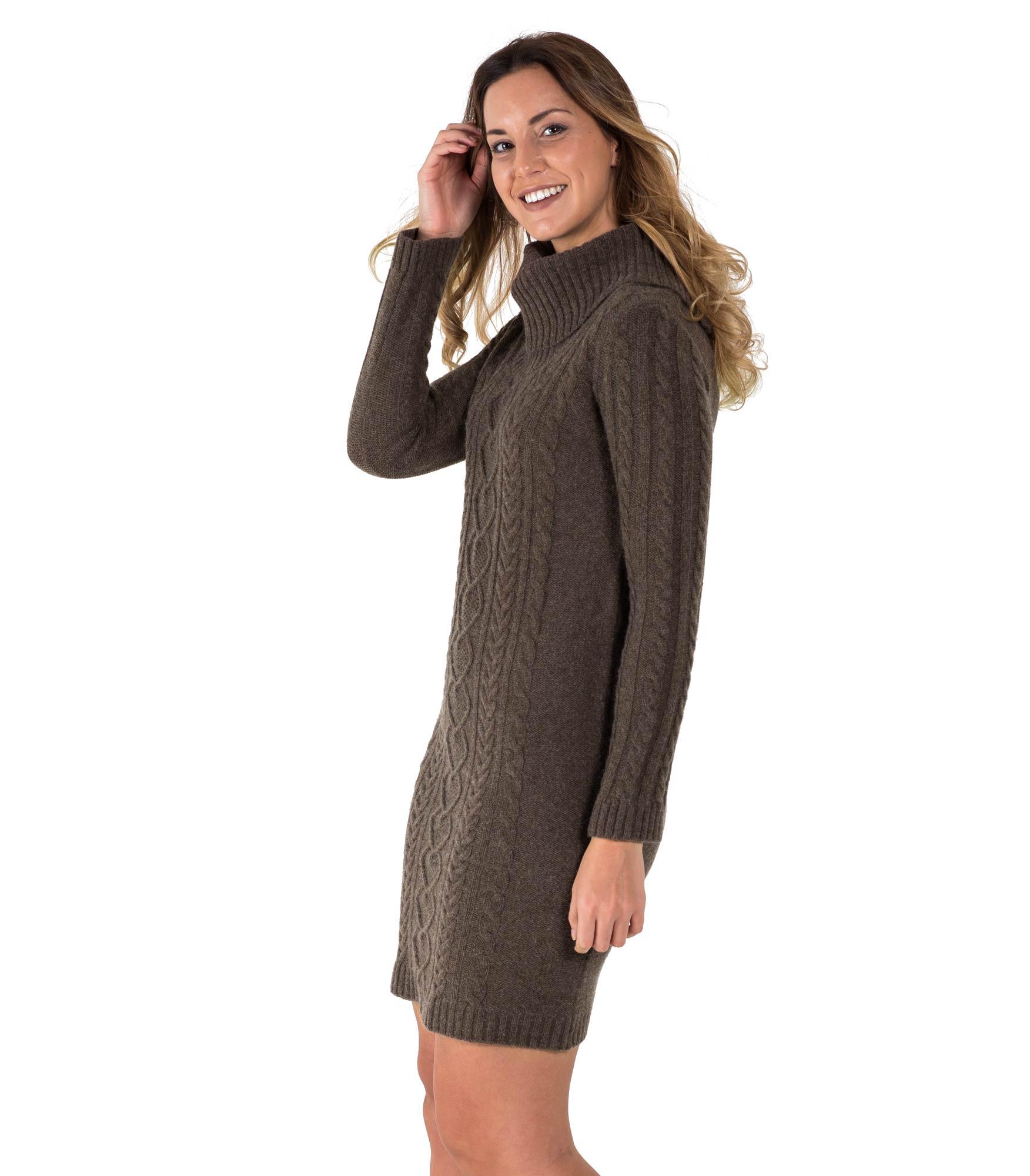 woolovers damen pulloverkleid wolle wasserfallkragen kleid strickkleid langarm ebay. Black Bedroom Furniture Sets. Home Design Ideas