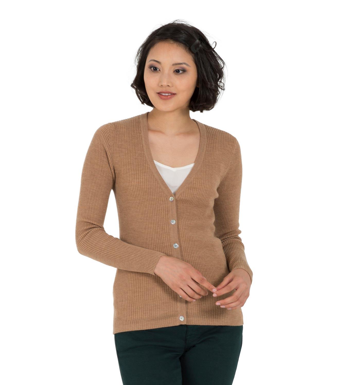 WoolOvers Womens Ladies Long Sleeve 100% Merino V Neck Rib ...