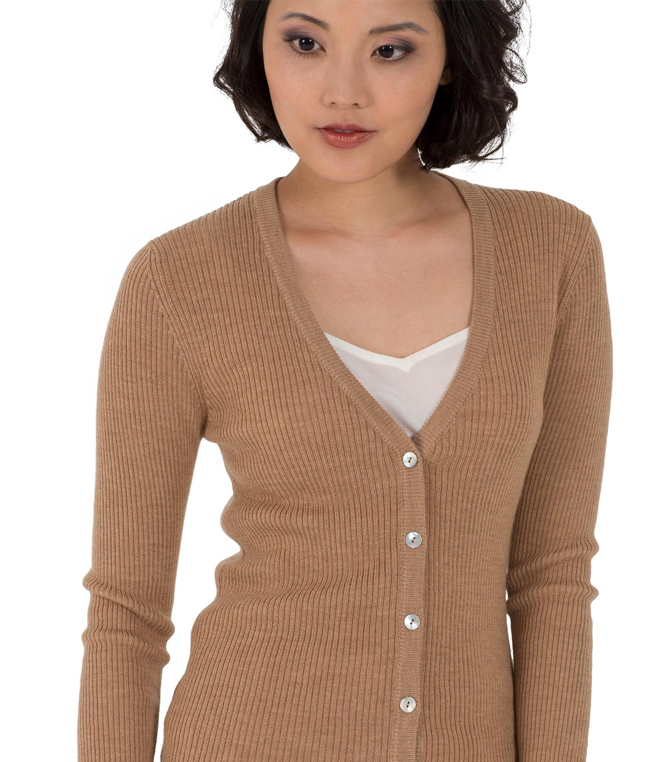 WoolOvers Womens Ladies Long Sleeve 100% Merino V Neck Rib ...