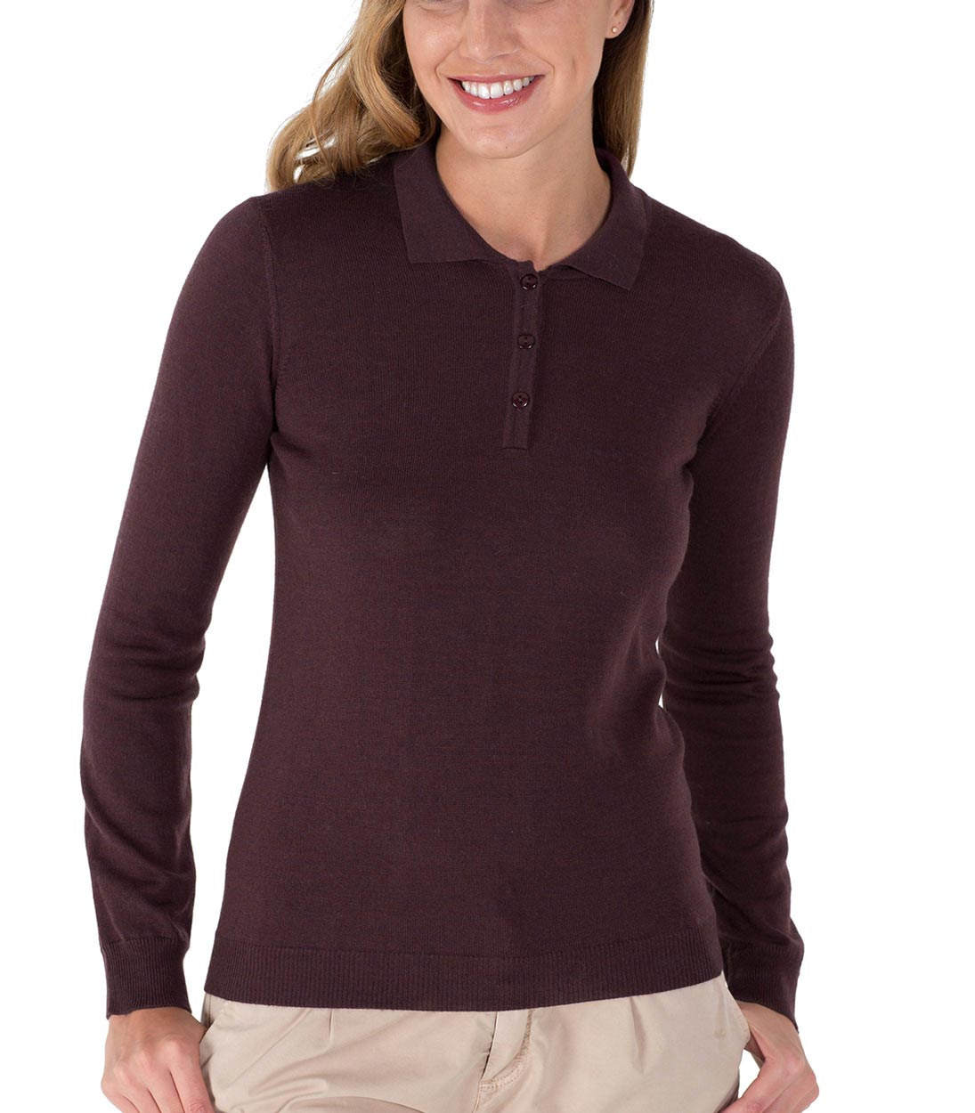 092c5ea90 WoolOvers Womens 100% Merino Long Sleeve Smart Casual Knitted Polo ...