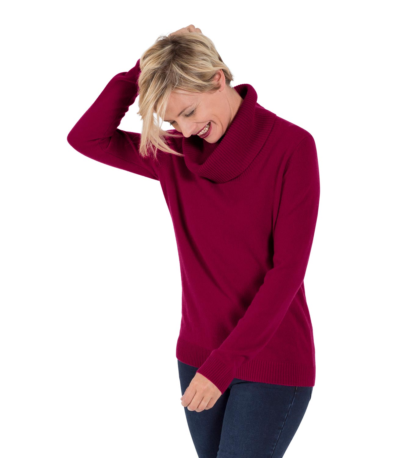 WoolOvers Womens Ladies New Cashmere Cowl Neck Jumper Sweater ...