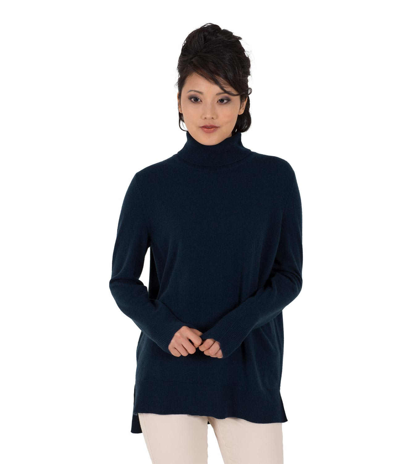 WoolOvers Womens Ladies New Cashmere Roll Neck Chunky Jumper ...