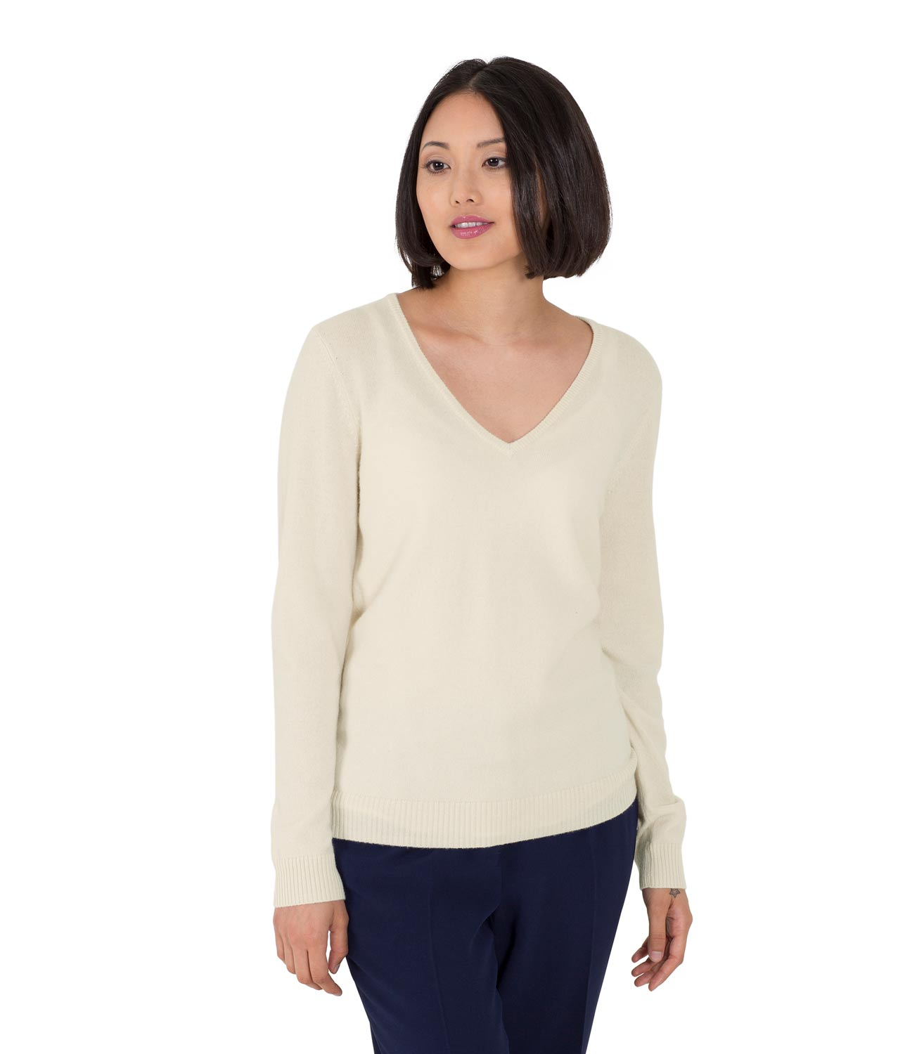 WoolOvers Womens New Cashmere V Neck Ribbed Long Sleeves Sweater ...