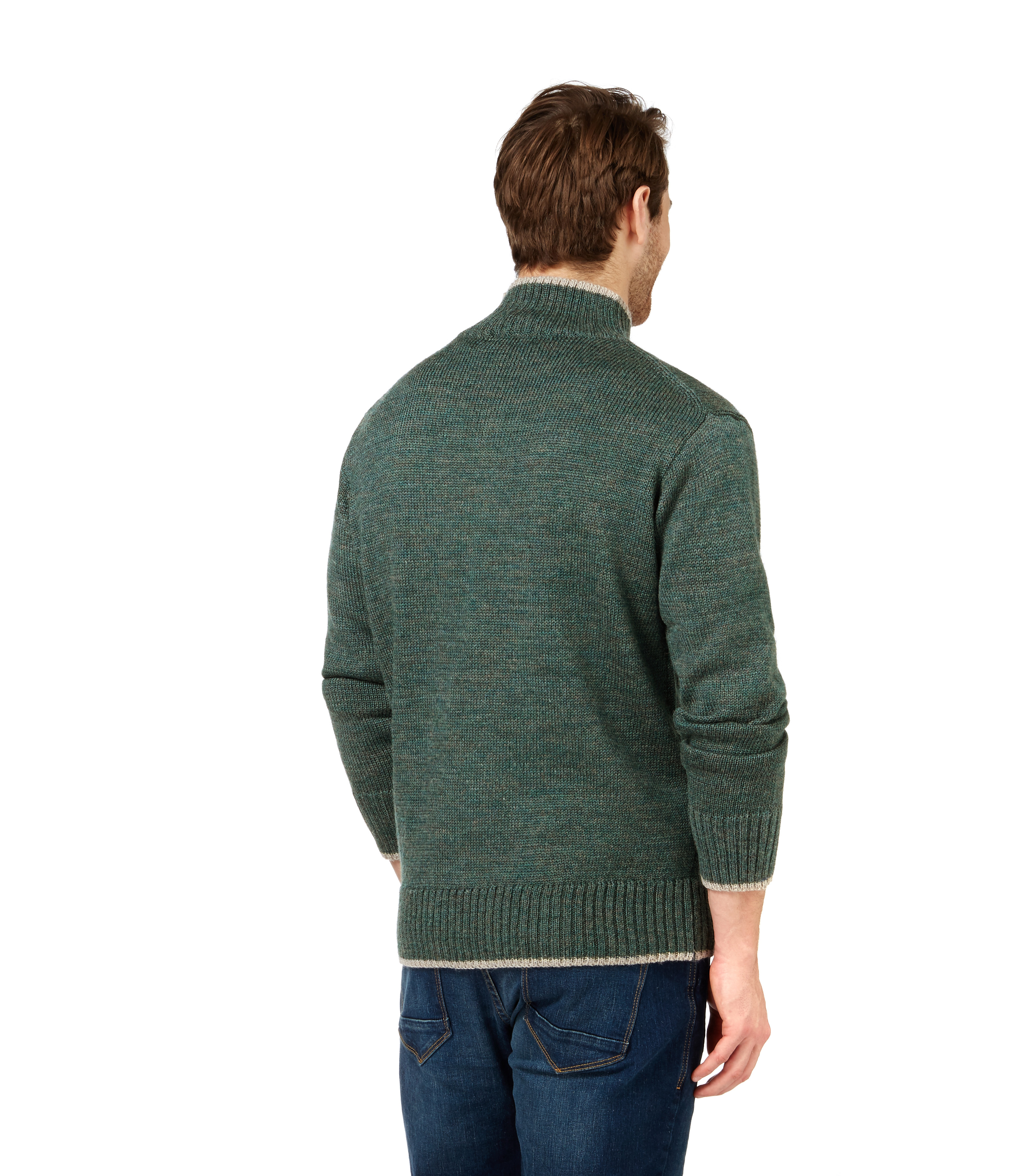 WoolOvers Mens Pure Wool Chunky Zip Neck Jumper Sweater Christmas Knitted eBay