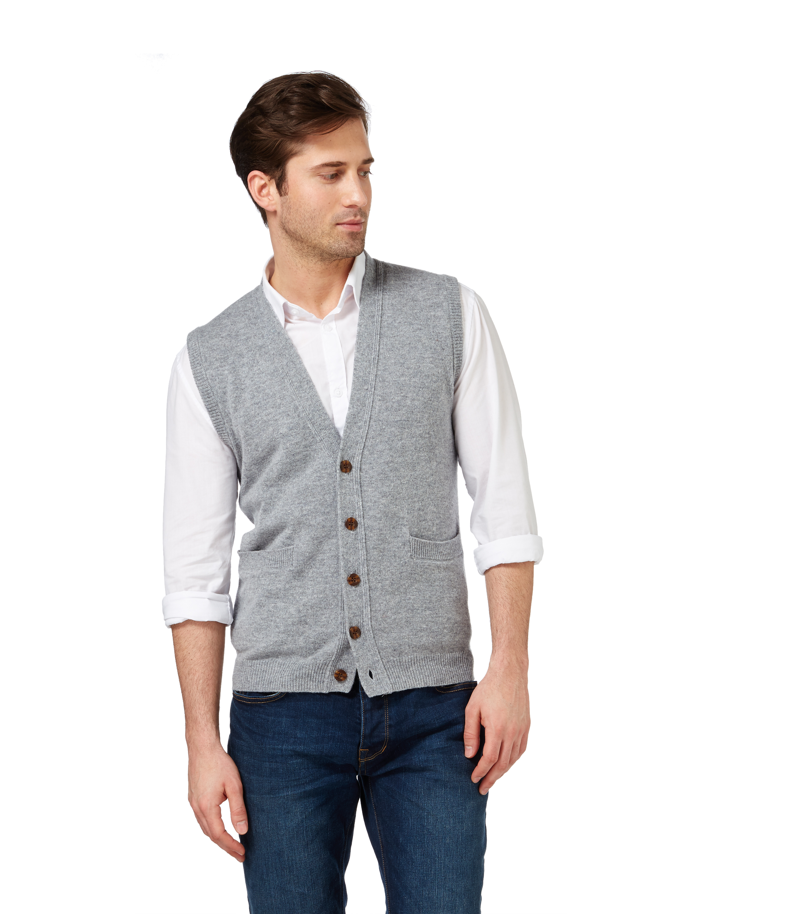 WoolOvers Mens Lambswool Button Down Waistcoat Casual Sleeveless ...