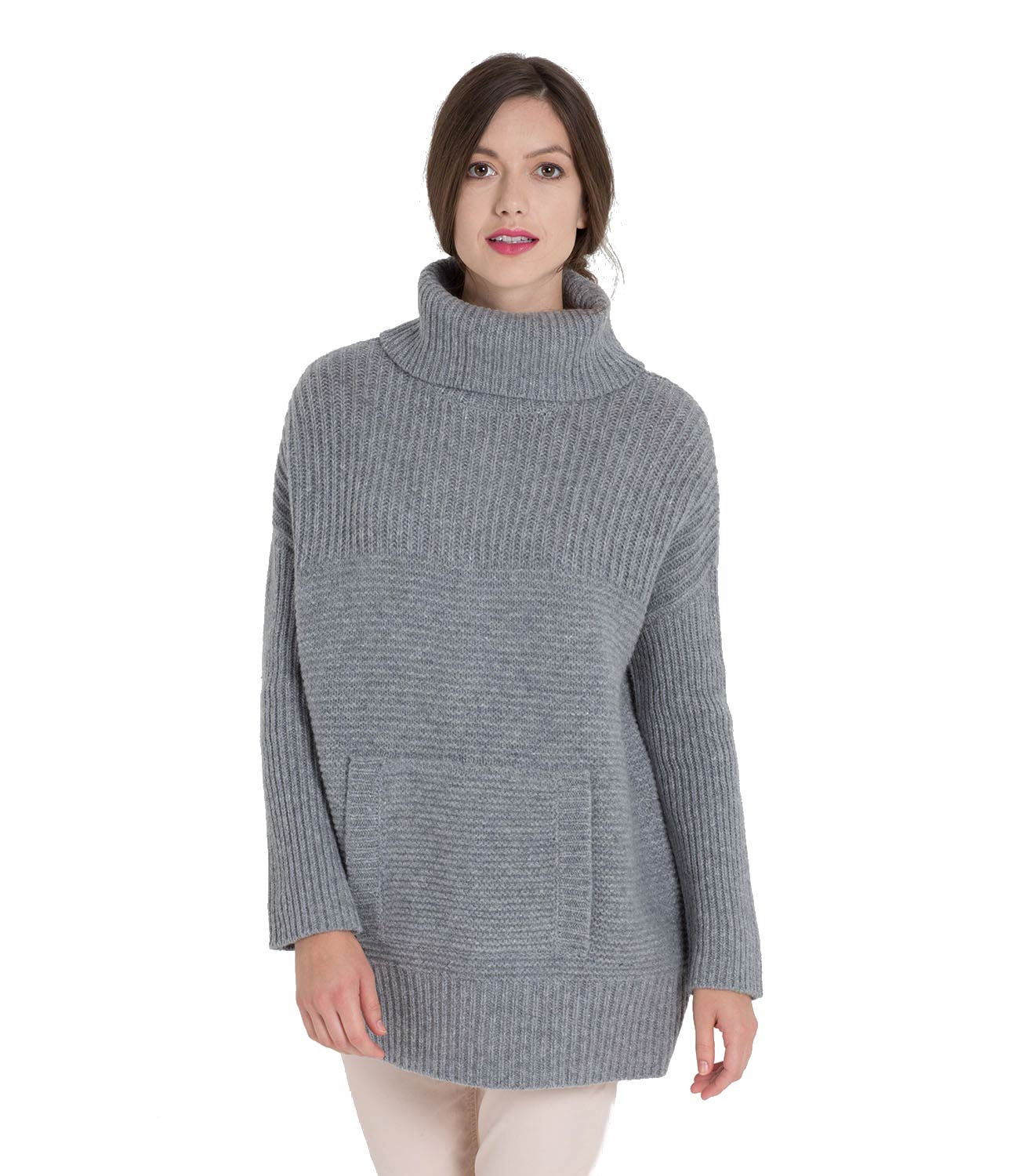 WoolOvers Womens Ladies Lambswool Chunky Roll Neck Jumper ...