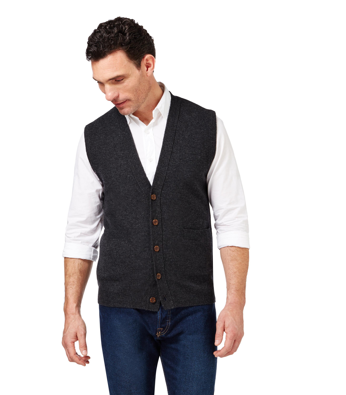 woolovers herren lammwolle weste rmellos strickjacke wolle strick cardigan ebay. Black Bedroom Furniture Sets. Home Design Ideas