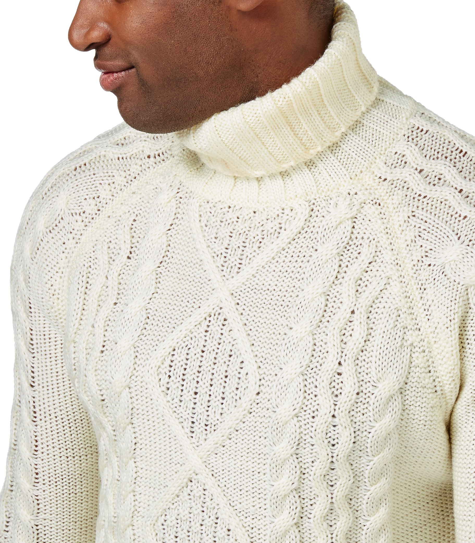 WoolOvers Mens Pure Wool Aran Polo Neck Casual Jumper ...