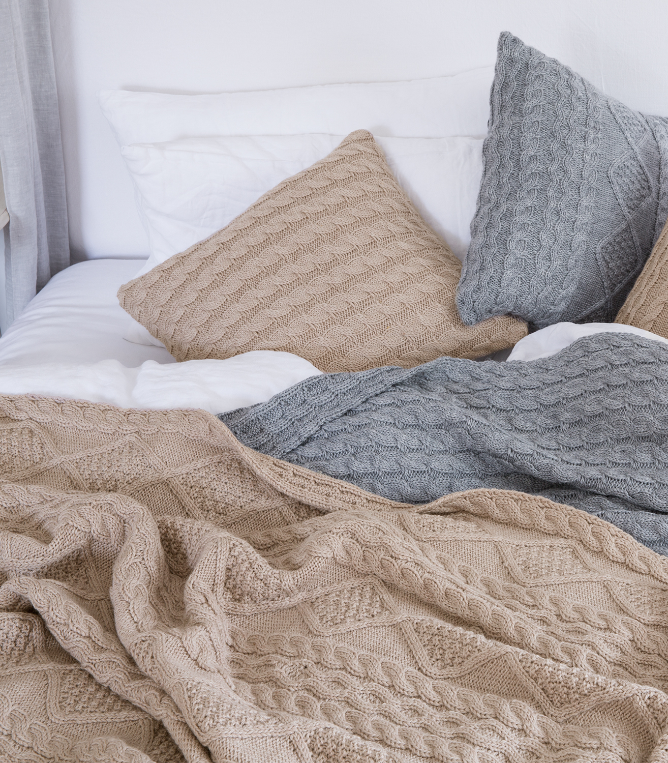 WoolOvers Pure Wool Casual Warm Knitted Soft Chunky Sofa Aran Blanket Throw ...