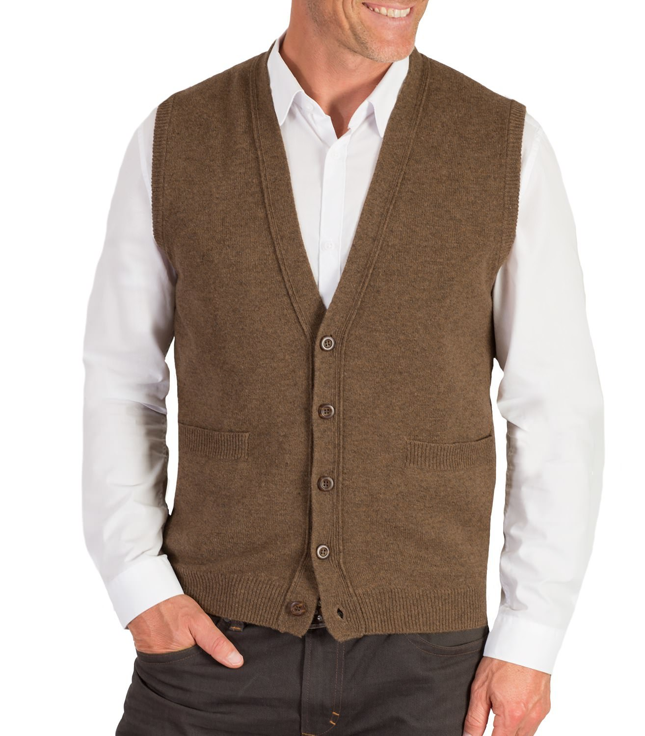 WoolOvers Mens Lambswool Sleeveless Knitted Button V Neck