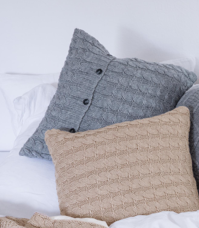 woolovers kissenbezug grobstrick zopfmuster wolle dekokissen strick kissenh lle ebay. Black Bedroom Furniture Sets. Home Design Ideas