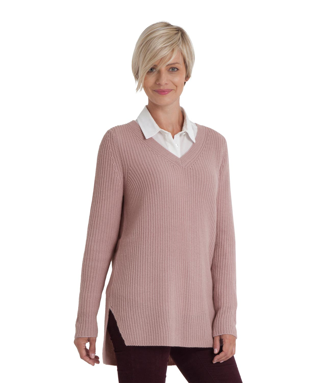 WoolOvers Womens Cashmere Merino Chunky V Neck Long Sleeve ...