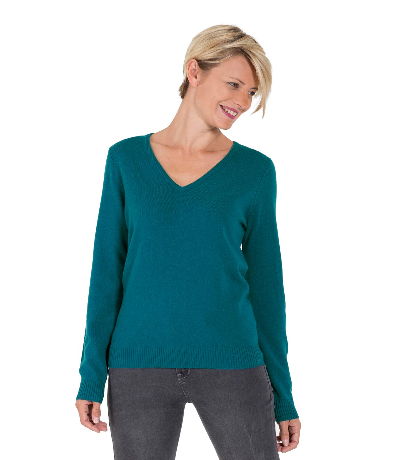 WoolOvers Womens Ladies New Cashmere V Neck Jumper Sweater ...